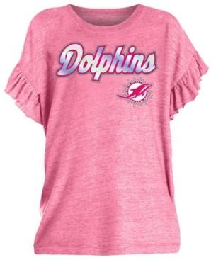 5th & Ocean Big Girls Miami Dolphins Ruffle Foil T-Shirt