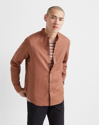Club Monaco Band Collar Linen Shirt