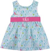 Princess Linens Blue Floral Monogram Dress - Infant, Toddler & Girls