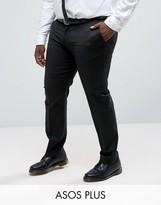 Asos Plus Slim Tuxedo Trousers In Black