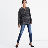 Madewell Lace-Up Peasant Top in Caravan Print