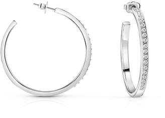 GUESS White Swarovski Pave Silver Coloured Hoop Earrings