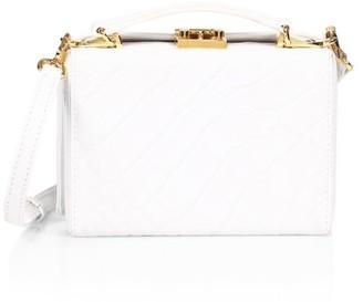 Mark Cross Mini Grace Croc-Embossed Leather Crossbody Box Bag