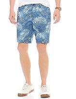 Original Penguin P55 Slim-Fit Flat-Front Palm-Print Shorts