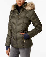 Nautica Faux-Fur-Trim Water-Resistant Puffer Coat