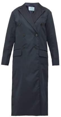 Prada Double Breasted Nylon Trench Coat - Womens - Navy