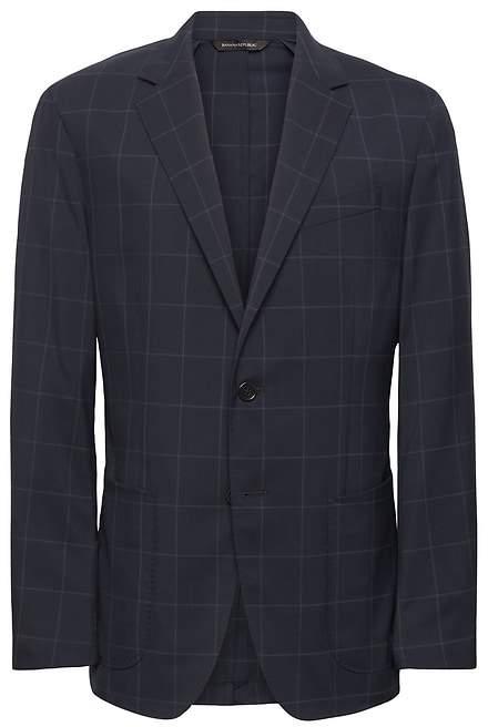 Banana Republic Standard Navy Smart-Weight Performance Wool Blend Suit Jacket