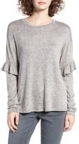 WAYF Women's Ruffle Long Sleeve Top