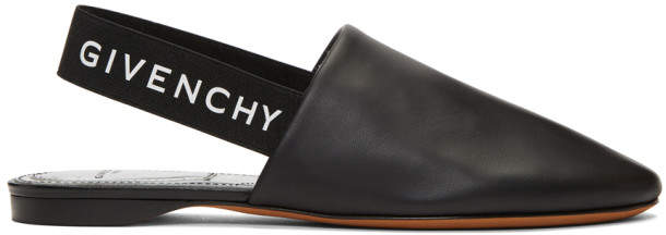 Givenchy Black Elastic Logo Slippers