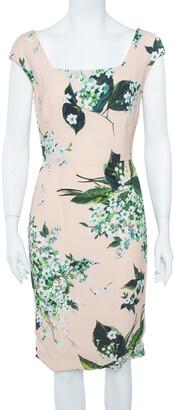 Dolce & Gabbana Pale Pink Hortensia Print Sleeveless Sheath Dress S