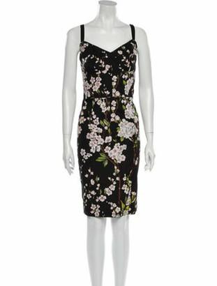 Dolce & Gabbana Almond Blossom Knee-Length Dress Black