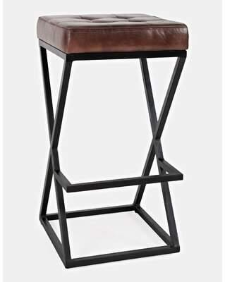 "Lorilee 29"" Bar Stool Williston Forge Upholstery: Dark Saddle"