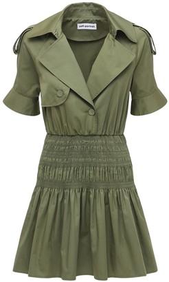 Self-Portrait Organic Cotton Twill Trench Mini Dress