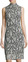 Neiman Marcus Lace Damask-Print Sheath Dress, Gray