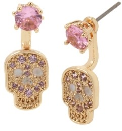 Betsey Johnson Cubic Zirconia Skull Front Back Earrings