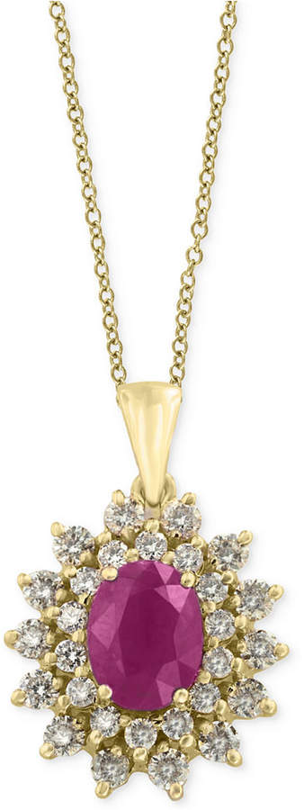 Effy Amore by Certified Ruby (1-3/8 ct. t.w.) and Diamond (3/4 ct. t.w.) Pendant Necklace in 14k Gold, Created for Macy's