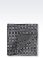 Emporio Armani Silk Pocket Square With Logo Pattern