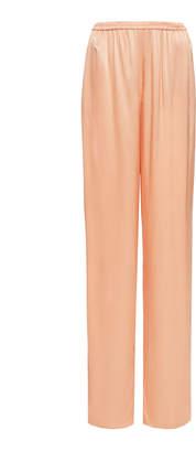 Sally LaPointe Fine Textured Satin Elastic Waist Wide Leg Pant