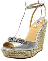 Badgley Mischka Annabel Women Open Toe Leather Silver Wedge Sandal.