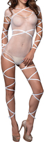 Leg Avenue White Fishnet Ribbon-Accent Teddy Set