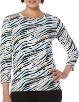 Rafaella Zebra-Printed Scoopneck Top