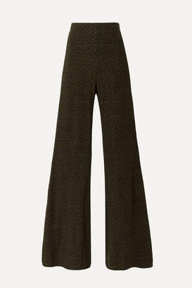 Beaufille Riva Ribbed Jacquard-knit Flared Pants - Army green
