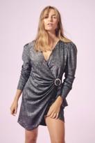 Nasty Gal Womens Good Night Diamante Buckle Wrap Dress - black - 4