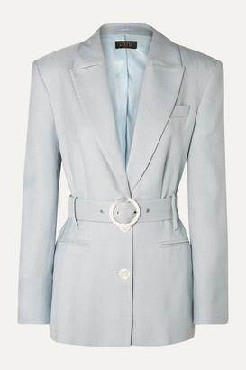 De La Vali Hawkins Belted Woven Blazer - Sky blue