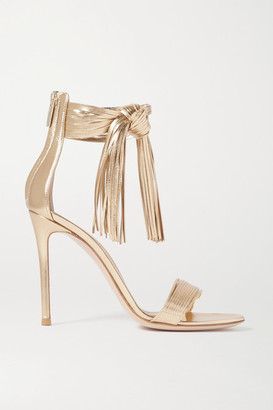 Gianvito Rossi 105 Fringed Metallic Leather Sandals - Gold
