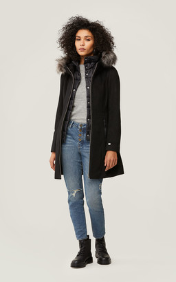 Soia & Kyo EDA slim fit wool coat with detachable faux fur