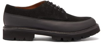 Grenson Earl Chunky Sole Suede And Leather Derby Shoes - Mens - Black