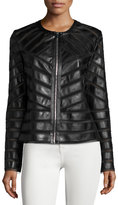 Bagatelle Faux-Leather Striped Jacket, Black