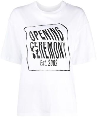 Opening Ceremony Warped Logo Regular T-Shirt White Black