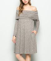 Sweet Pea Dark Coco Stripe Pocket Off-Shoulder Dress