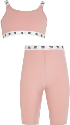 River Island Girls Pink crop top and cycling shorts set