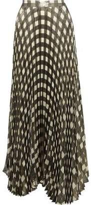 Alice + Olivia Katz Checked Plisse Silk-blend Lame Maxi Skirt