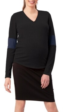 Stowaway Collection Maternity Stowaway Collection Elbow Cuff Maternity Sweater