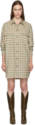 Etoile Isabel Marant Green and Orange Check Iceo Pilou Dress