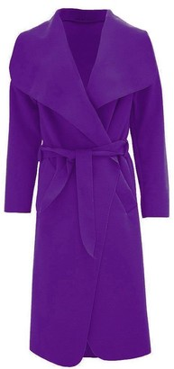 66 Fashion District Women Italian Long Duster Jacket Ladies French Belted Trench Waterfall Coat 8-14 (UK 12
