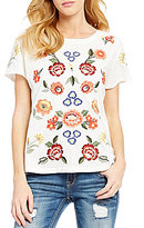 Miss Me Floral Embroidered Short-Sleeve Top