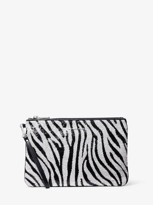 MICHAEL Michael Kors Large Zebra Sequined Zip Pouch