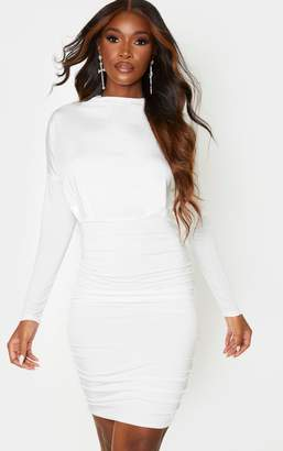 PrettyLittleThing White Slinky High Neck Long Sleeve Ruched Back Bodycon Dress