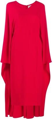 Valentino cape-style V-neck silk midi-dress
