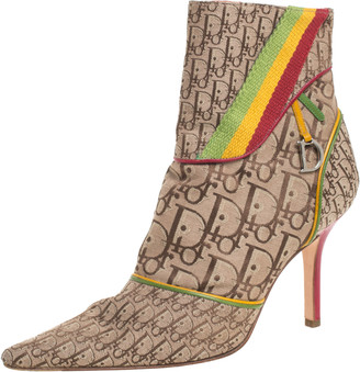 Christian Dior Multicolor Monogram Canvas And Leather Piping Ankle Boots Size 36