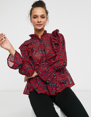 New Look neck detail ruffle blouse in red animal print