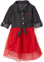 U.S. Polo Assn. Black & Red Heart Shirt Dress - Toddler & Girls