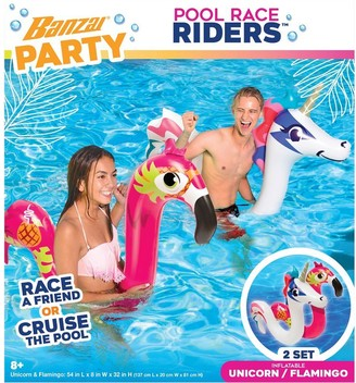 Banzai Pool Party Flamingo and Unicorn Pool Race Riders