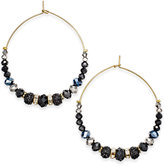 INC International Concepts Gold-Tone Jet Stone, Glitter and Pavé Gypsy Hoop Earrings, Only at Macy's