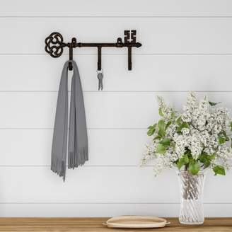 Decorative Skeleton Key Design Hooks-3-Pronged Cast Iron Shabby Chic Rustic Wall Mount Hooks for Coats, Hats, Jewelry, and More by Lavish Home (Brown)