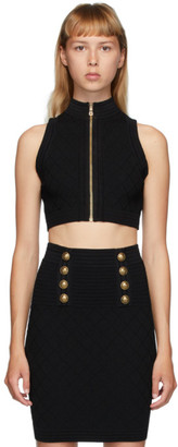 Balmain Black Diamond Knit Button Top